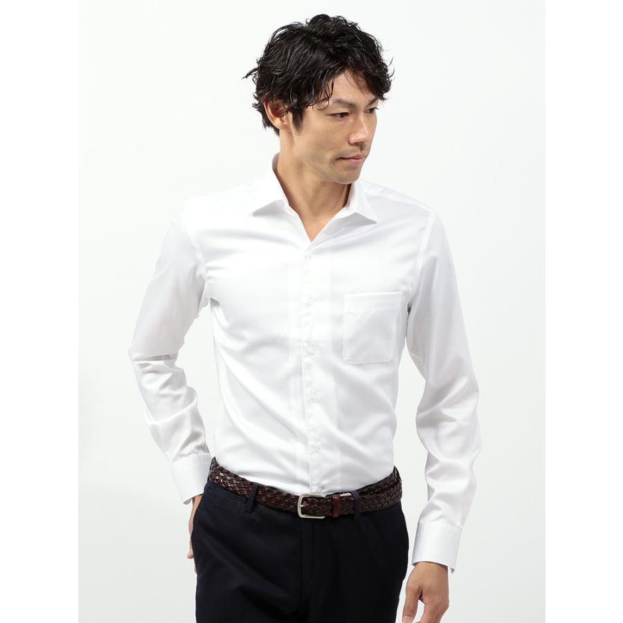 ドレスシャツ/長袖/メンズ/COOL MAX/2WAYカラードレスシャツ 織柄 〔EC・CLASSIC SLIM-FIT〕 ホワイト