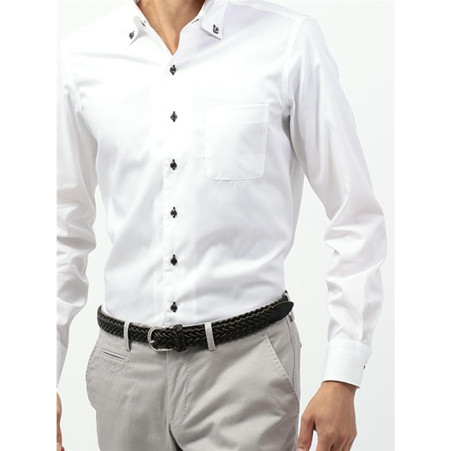 ドレスシャツ/長袖/メンズ/COOL MAX/2WAYカラードレスシャツ 〔EC・CLASSIC SLIM-FIT〕 ホワイト