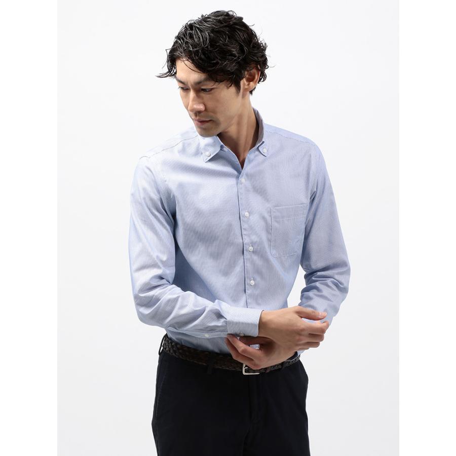 ドレスシャツ/長袖/メンズ/COOL MAX/2WAYカラードレスシャツ 織柄 〔EC・CLASSIC SLIM-FIT〕 ブルー×ホワイト