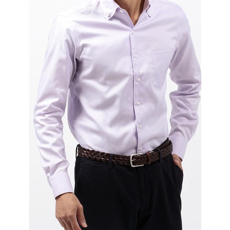 ドレスシャツ/長袖/メンズ/COOL MAX/2WAYカラードレスシャツ 無地 〔EC・CLASSIC SLIM-FIT〕 パープル