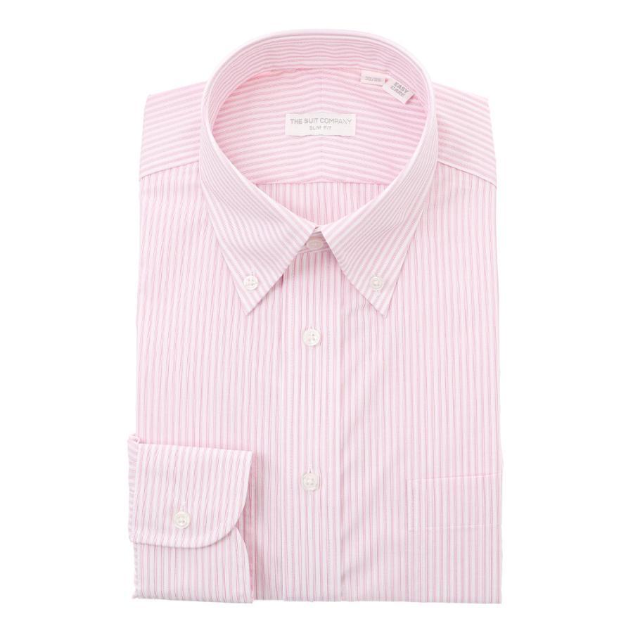ドレスシャツ/長袖/メンズ/ボタンダウンカラードレスシャツ ストライプ 〔EC・SLIM FIT〕 ピンク×ホワイト