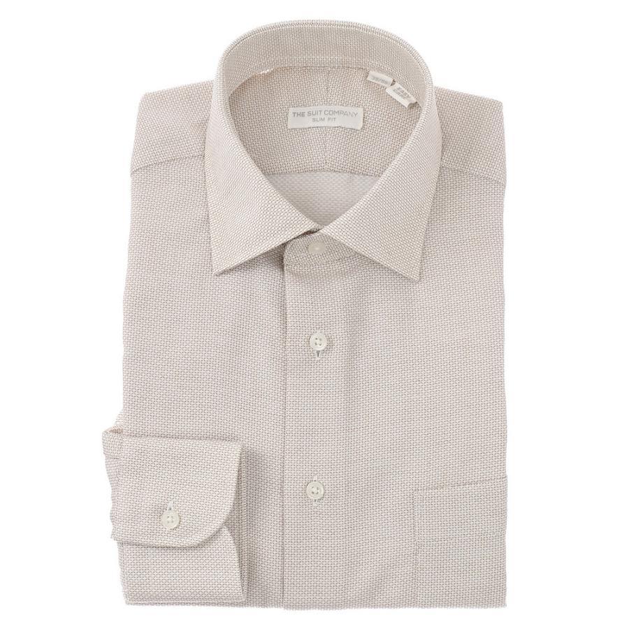 ドレスシャツ/長袖/メンズ/ワイドカラードレスシャツ 織柄 〔EC・SLIM FIT〕 ホワイト×ブラウン