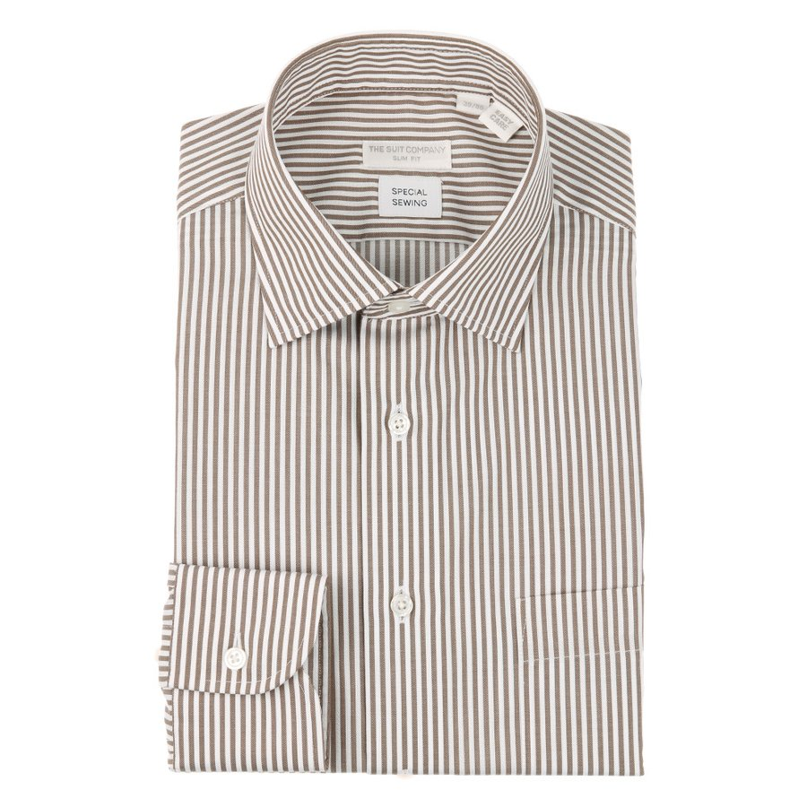 ドレスシャツ/長袖/メンズ/Special sewing/ワイドカラードレスシャツ ストライプ 〔EC・SLIM FIT〕 ブラウン×ホワイト