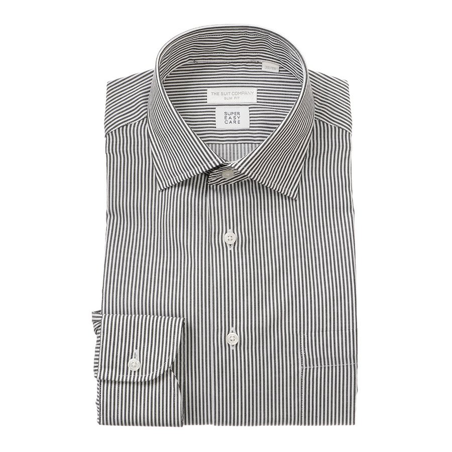 ドレスシャツ/長袖/メンズ/SUPER EASY CARE/ワイドカラードレスシャツ ストライプ 〔EC・SLIM FIT〕 チャコールグレー×ホワイト