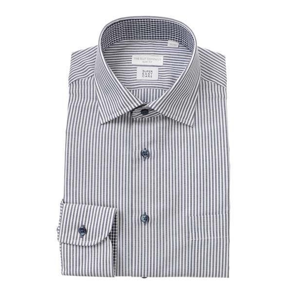 ドレスシャツ/長袖/メンズ/SUPER EASY CARE/ワイドカラードレスシャツ ストライプ 〔EC・SLIM FIT〕 ネイビー×ホワイト
