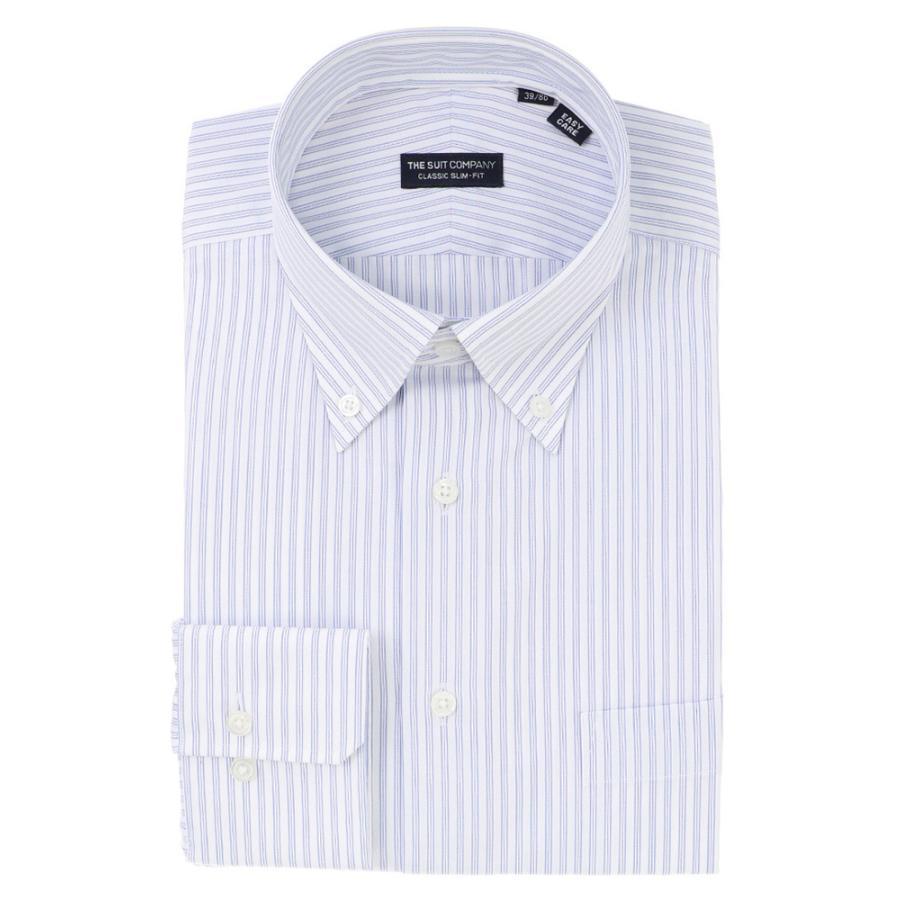 ドレスシャツ/長袖/メンズ/ボタンダウンカラードレスシャツ ストライプ 〔EC・CLASSIC SLIM-FIT〕 ホワイト×ブルー×ネイビー