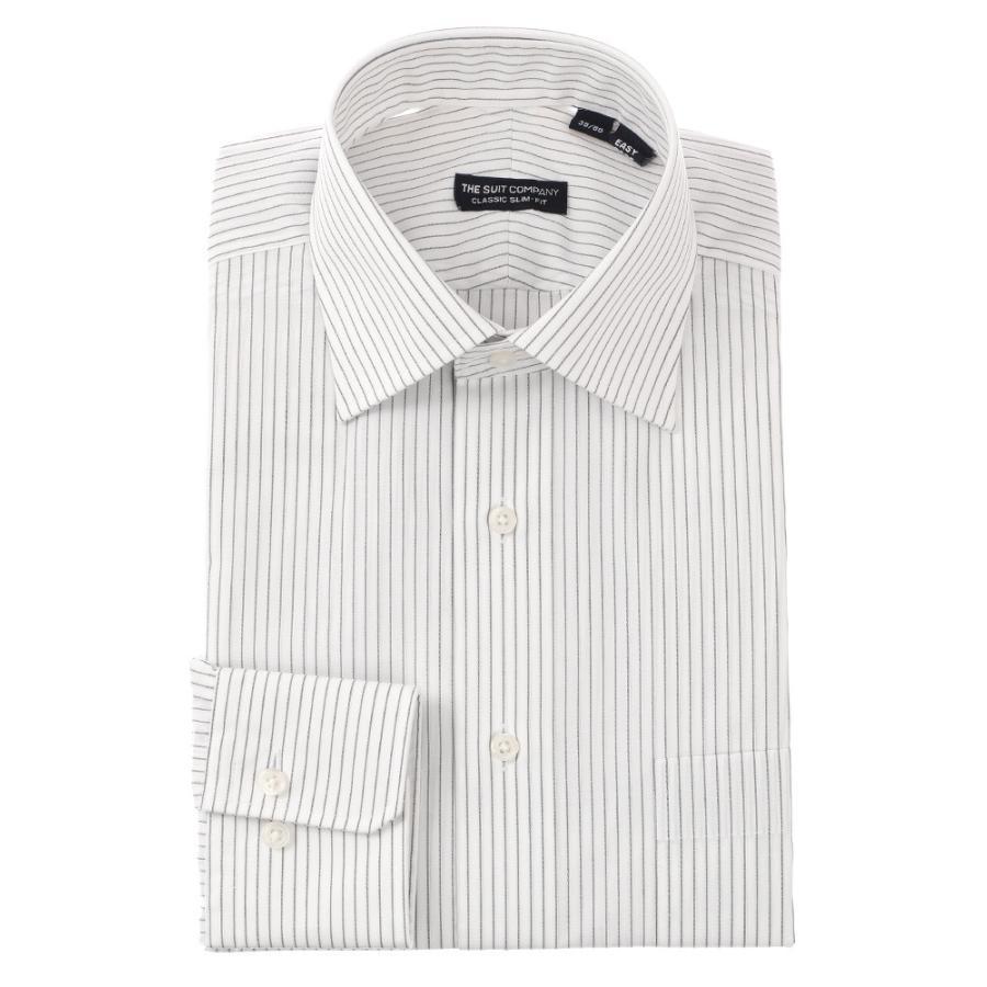 ドレスシャツ/長袖/メンズ/ワイドカラードレスシャツ ストライプ 〔EC・CLASSIC SLIM-FIT〕 ホワイト×ミディアムグレー