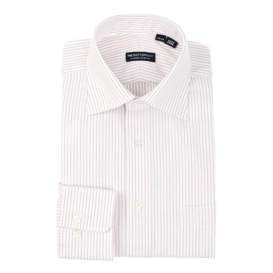 ドレスシャツ/長袖/メンズ/ワイドカラードレスシャツ ピンストライプ 〔EC・CLASSIC SLIM-FIT〕 ホワイト×ボルドー