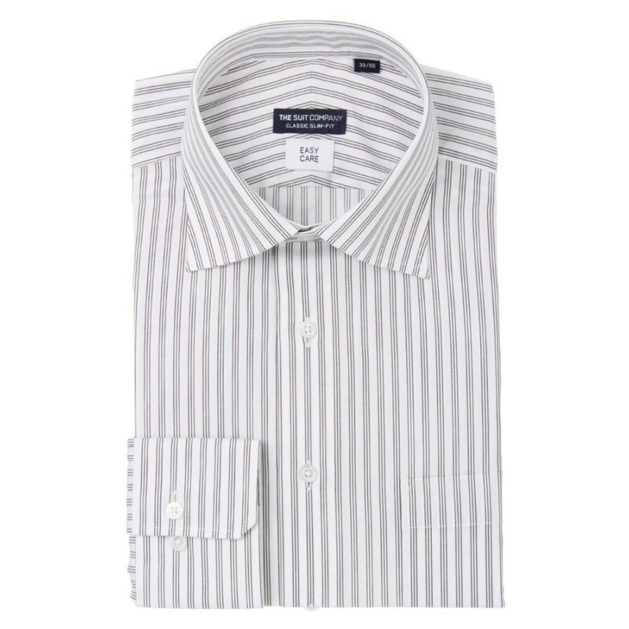 ドレスシャツ/長袖/メンズ/ワイドカラードレスシャツ ストライプ 〔EC・CLASSIC SLIM-FIT〕 ホワイト×ブラウン