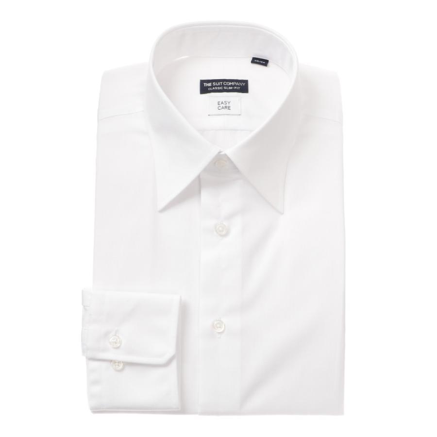 ドレスシャツ/長袖/メンズ/レギュラーカラードレスシャツ 織柄 〔EC・CLASSIC SLIM-FIT〕 ホワイト