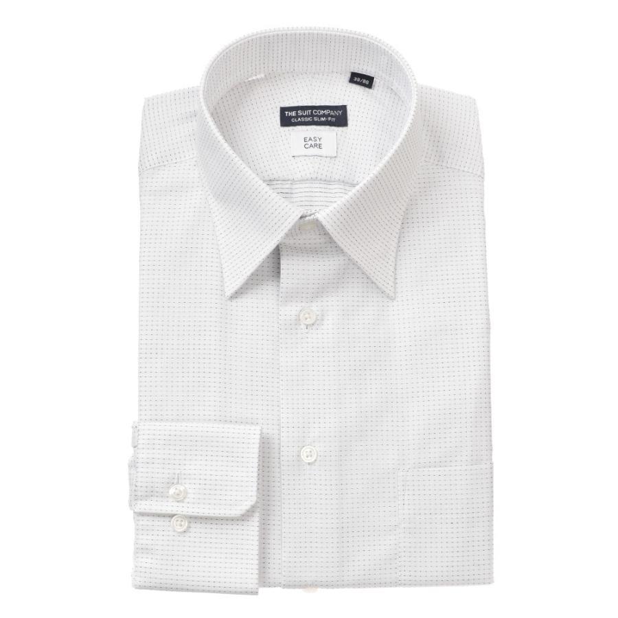 ドレスシャツ/長袖/メンズ/レギュラーカラードレスシャツ ドビー織柄 〔EC・CLASSIC SLIM-FIT〕 ホワイト×ブラック