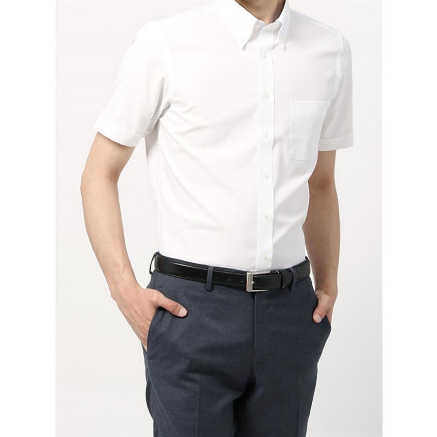 ドレスシャツ/半袖/メンズ/半袖・3BLOCK SHIRT/ボタンダウンカラードレスシャツ 無地 〔EC・BASIC〕 ホワイト