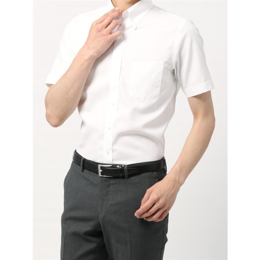 ドレスシャツ/半袖/メンズ/半袖・3BLOCK SHIRT/ボタンダウンカラードレスシャツ 織柄 〔EC・BASIC〕 ホワイト