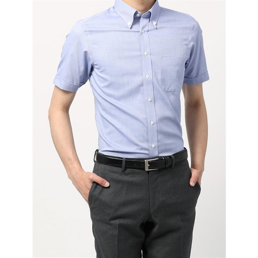 ドレスシャツ/半袖/メンズ/半袖・3BLOCK SHIRT/ボタンダウンカラードレスシャツ 織柄 〔EC・BASIC〕 ブルー×ホワイト