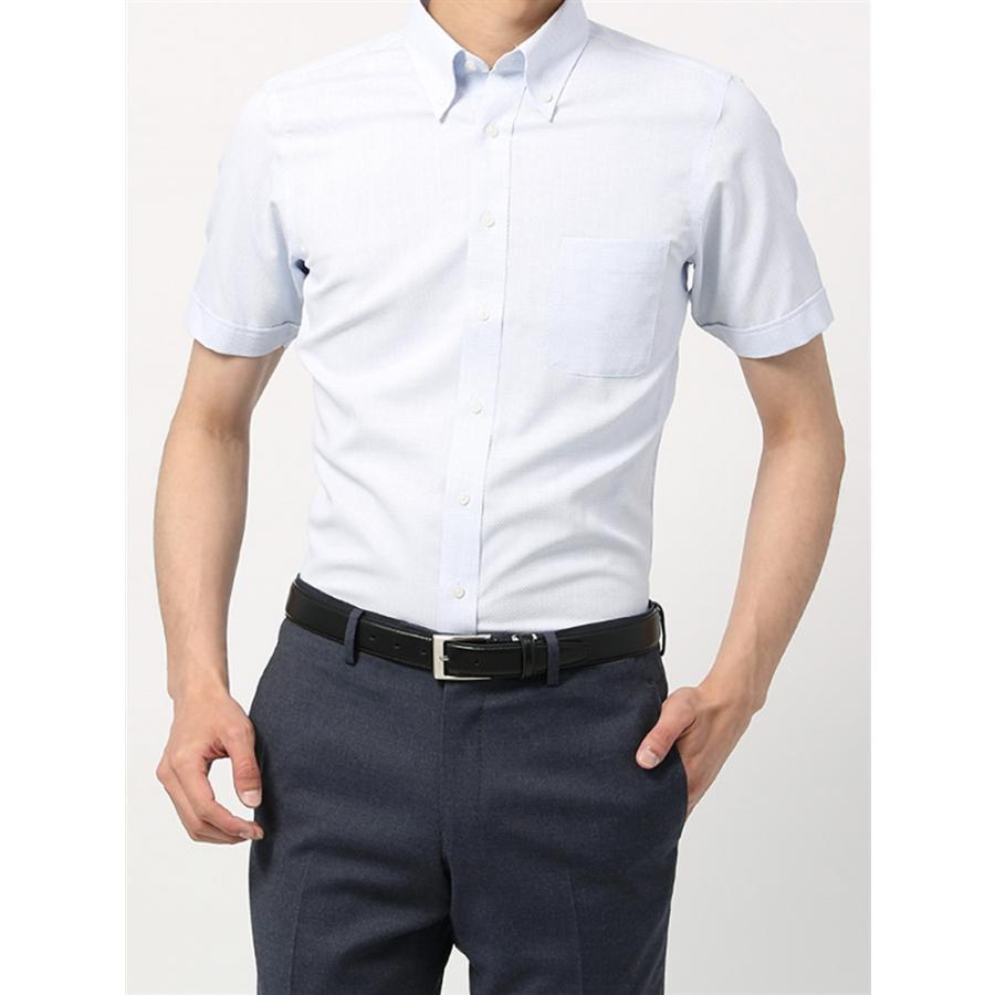 ドレスシャツ/半袖/メンズ/半袖・3BLOCK SHIRT/ボタンダウンカラードレスシャツ 織柄 〔EC・BASIC〕 ホワイト×サックスブルー