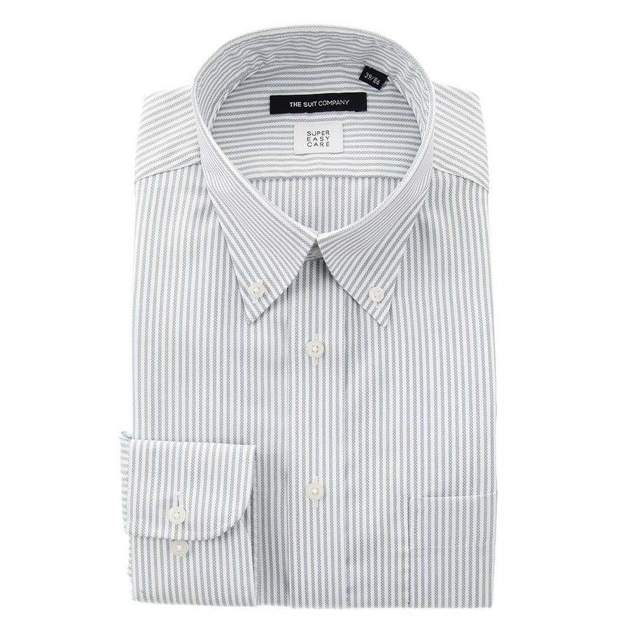 ドレスシャツ/長袖/メンズ/3BLOCK SHIRT/ボタンダウンカラードレスシャツ ストライプ 〔EC・BASIC〕 ライトグレー×ホワイト