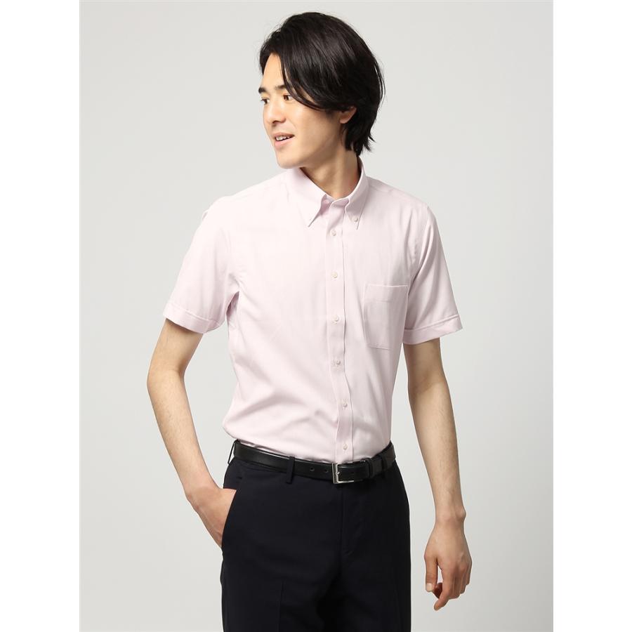 ドレスシャツ/半袖/メンズ/半袖・3BLOCK SHIRT/ボタンダウンカラードレスシャツ 織柄 〔EC・BASIC〕 ピンク×ホワイト