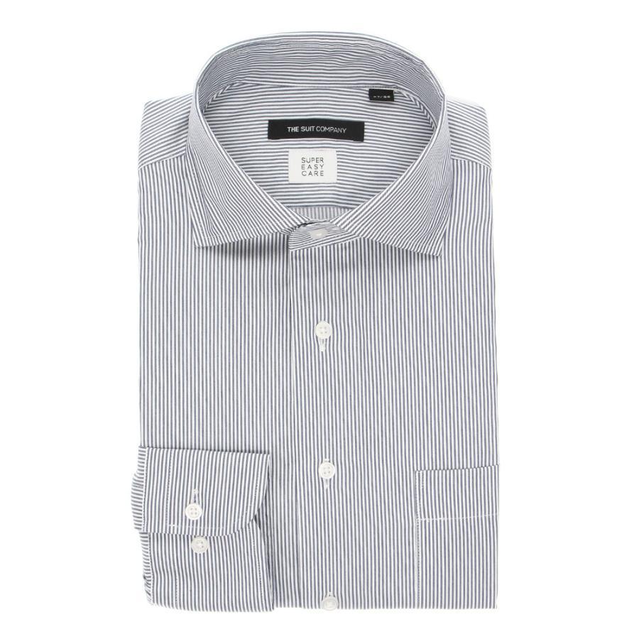 ドレスシャツ/長袖/メンズ/3BLOCK SHIRT/ホリゾンタルカラードレスシャツ ストライプ 〔EC・BASIC〕 ネイビー×ホワイト