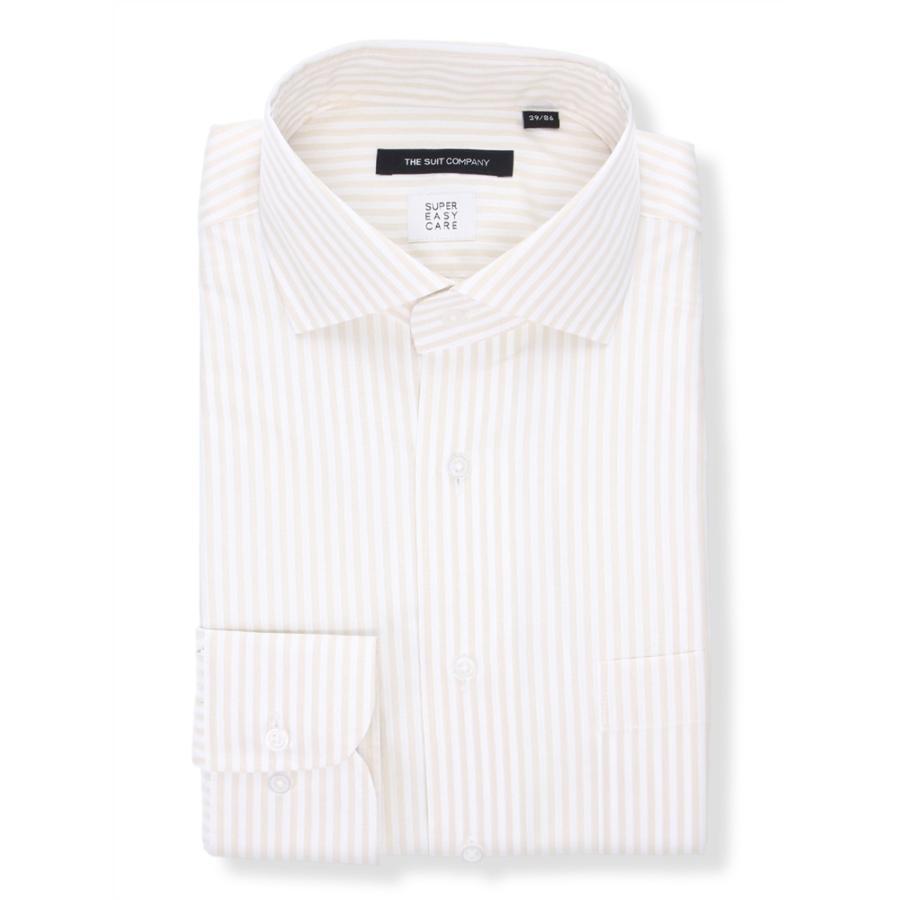 ドレスシャツ/長袖/メンズ/3BLOCK SHIRT/ホリゾンタルカラードレスシャツ ストライプ 〔EC・BASIC〕 ベージュ×ホワイト