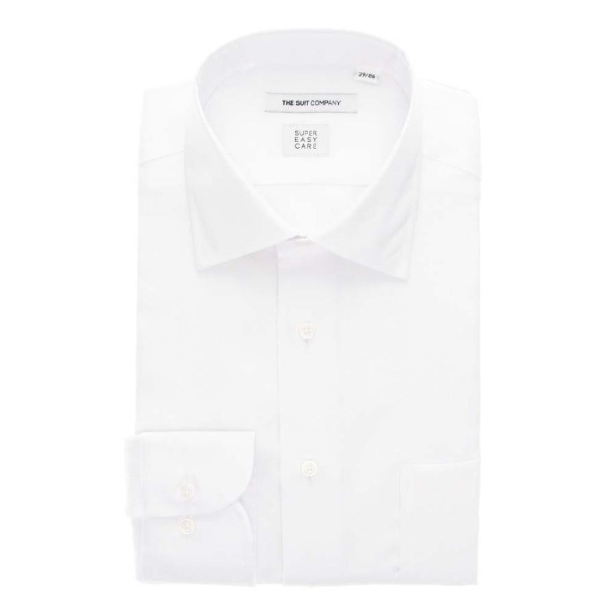 ドレスシャツ/長袖/メンズ/3BLOCK SHIRT/ワイドカラードレスシャツ 織柄 〔EC・FIT〕 ホワイト