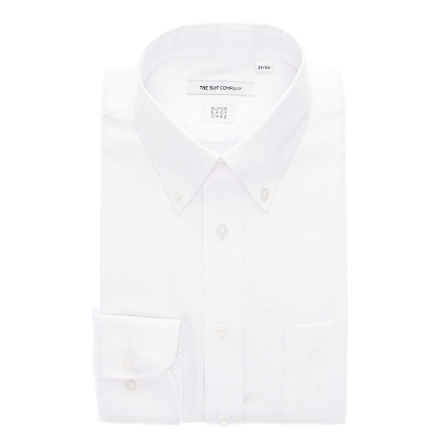 ドレスシャツ/長袖/メンズ/3BLOCK SHIRT/ボタンダウンカラードレスシャツ 織柄 〔EC・FIT〕 ホワイト