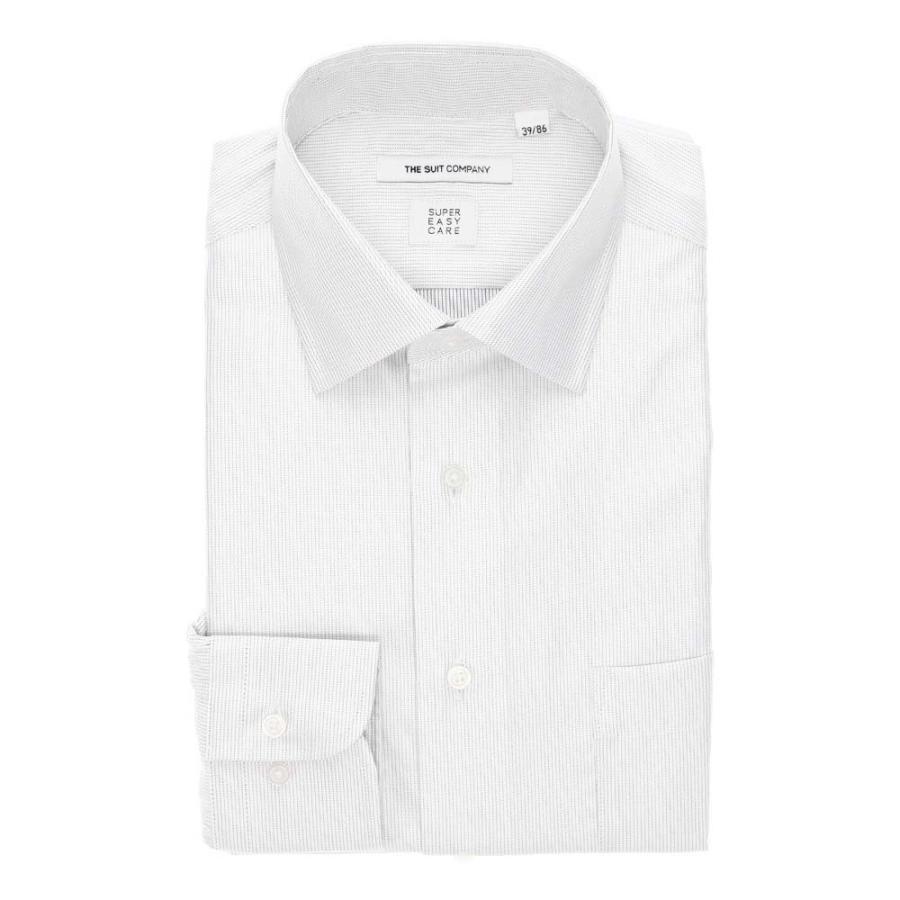 ドレスシャツ/長袖/メンズ/3BLOCK SHIRT/ワイドカラードレスシャツ ピンストライプ 〔EC・FIT〕 ホワイト×グレー