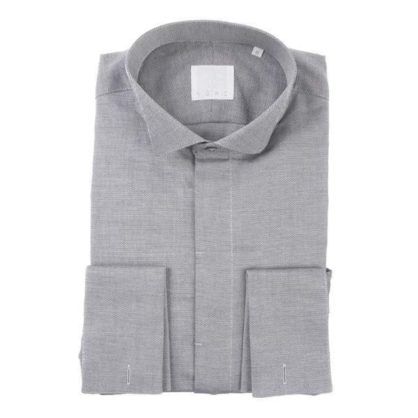 ドレスシャツ/長袖/メンズ/N.G.A.C・CERIMONIA/ダブルカフス&ウイングカラードレスシャツ 織柄 ブラック×ホワイト