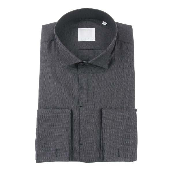 ドレスシャツ/長袖/メンズ/N.G.A.C・CERIMONIA/ダブルカフス&ウイングカラードレスシャツ ドビー織柄 ダークネイビー×ホワイト