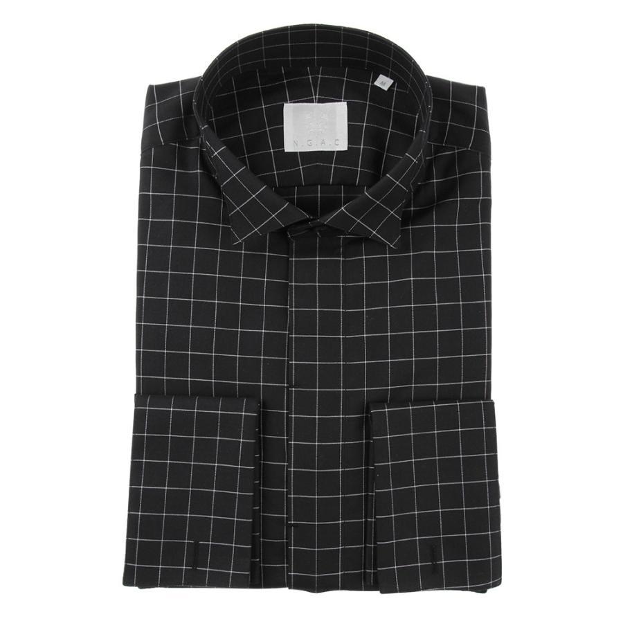 ドレスシャツ/長袖/メンズ/N.G.A.C・CERIMONIA/ダブルカフス&ウイングカラードレスシャツ チェック ブラック×ホワイト
