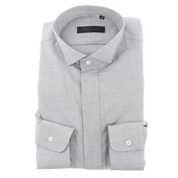 ドレスシャツ/長袖/メンズ/NERO/ウイングカラードレスシャツ 織柄 ホワイト×ブラック