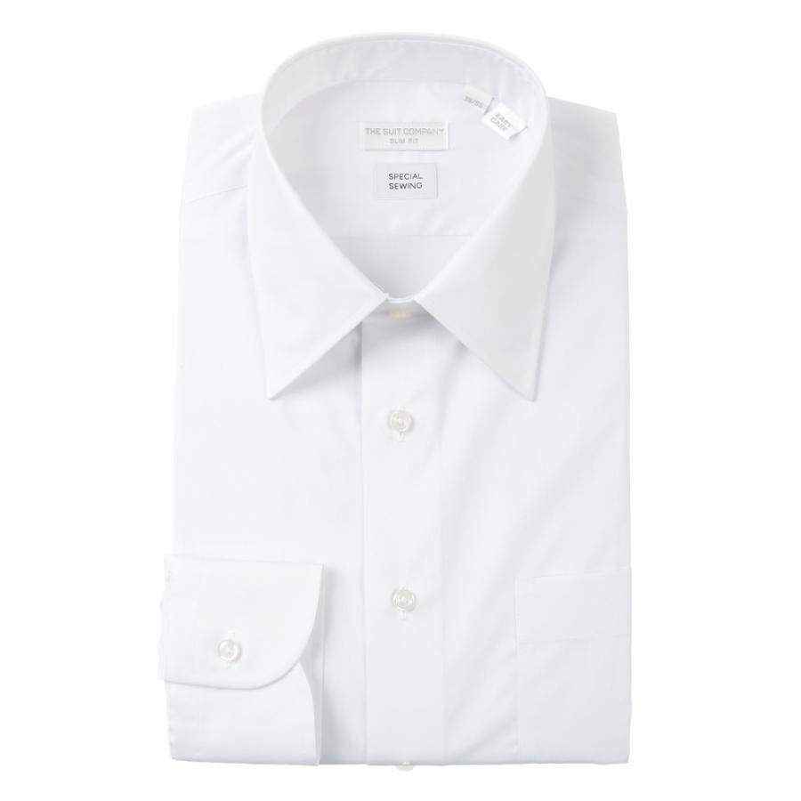 ドレスシャツ/長袖/メンズ/STRETCH COMFORT/レギュラーカラードレスシャツ 無地 〔EC・SLIM FIT〕 ホワイト