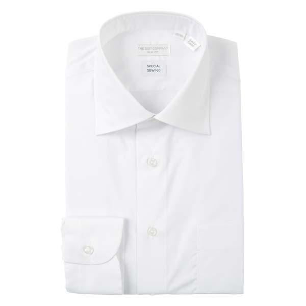 ドレスシャツ/長袖/メンズ/STRETCH COMFORT/ワイドカラードレスシャツ 無地 〔EC・SLIM FIT〕 ホワイト