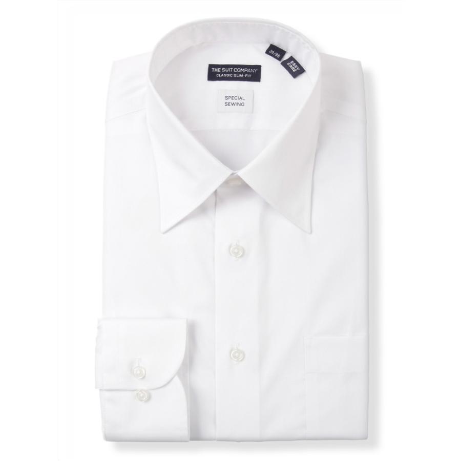 ドレスシャツ/長袖/メンズ/STRETCHCOMFORT/レギュラーカラードレスシャツ〔EC・CLASSICSLIM-FIT〕 ホワイト