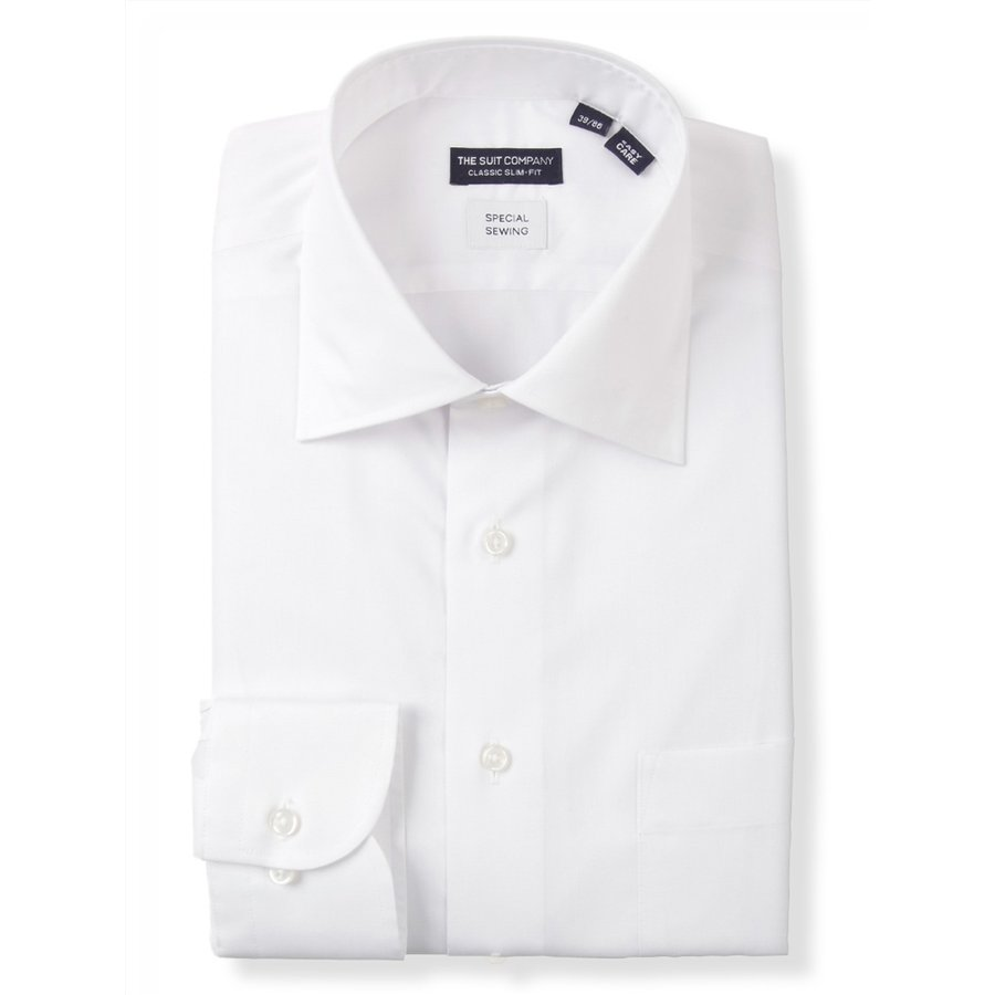 ドレスシャツ/長袖/メンズ/STRETCH COMFORT/ワイドカラードレスシャツ〔EC・CLASSIC SLIM-FIT〕 ホワイト