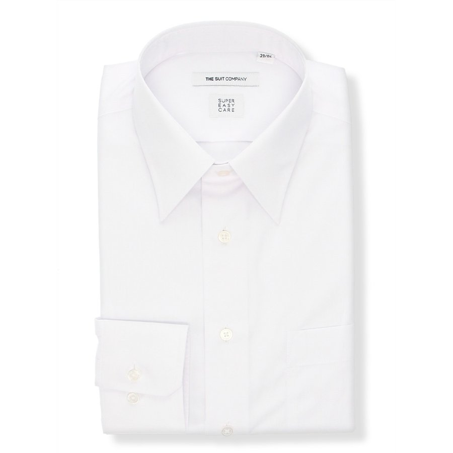 ドレスシャツ/長袖/メンズ/SUPER EASY CARE/レギュラーカラードレスシャツ 無地 〔EC・FIT〕 ホワイト