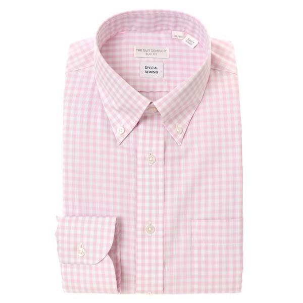 ドレスシャツ/長袖/メンズ/Special sewing/ボタンダウンカラードレスシャツ〔EC・SLIM FIT〕 ピンク×ホワイト