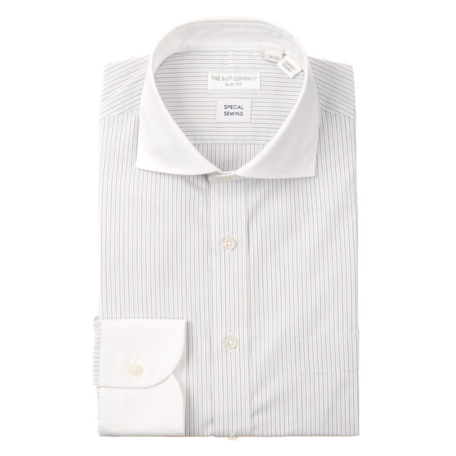 ドレスシャツ/長袖/メンズ/クレリック&ホリゾンタルカラードレスシャツ オルタネートストライプ 〔EC・SLIM FIT〕 ホワイト×ブラウン×サックスブルー