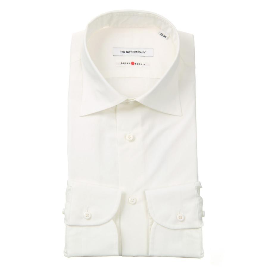 ドレスシャツ/長袖/メンズ/JAPAN FABRIC/HAND MADE/ワイドカラードレスシャツ 無地 ホワイト