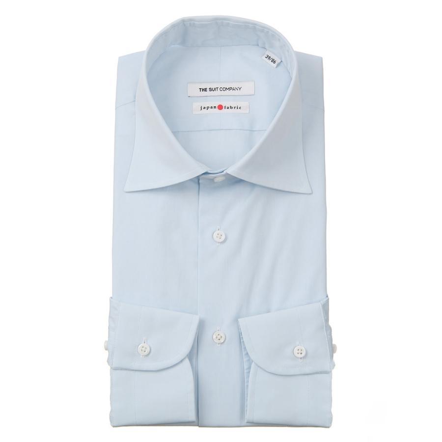 ドレスシャツ/長袖/メンズ/JAPAN FABRIC/HAND MADE/ワイドカラードレスシャツ 無地 サックスブルー