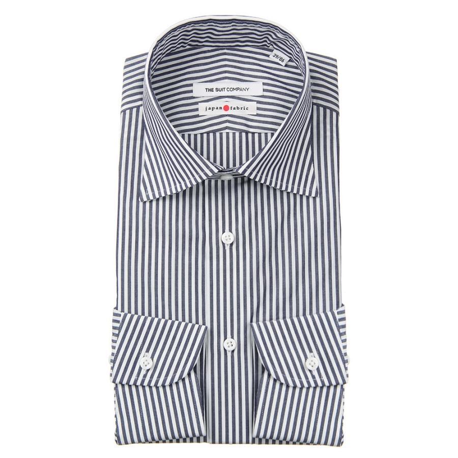 ドレスシャツ/長袖/メンズ/JAPAN FABRIC/HAND MADE/ワイドカラードレスシャツ ロンドンストライプ ネイビー×ホワイト