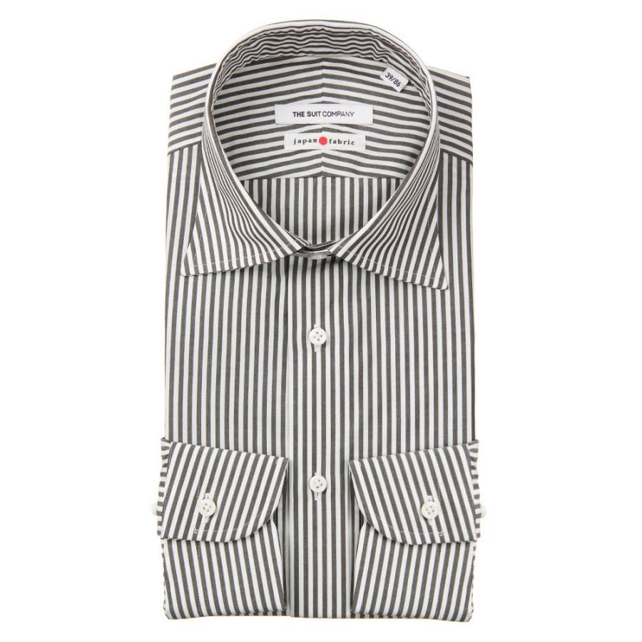 ドレスシャツ/長袖/メンズ/JAPAN FABRIC/HAND MADE/ワイドカラードレスシャツ ロンドンストライプ ブラウン×ホワイト