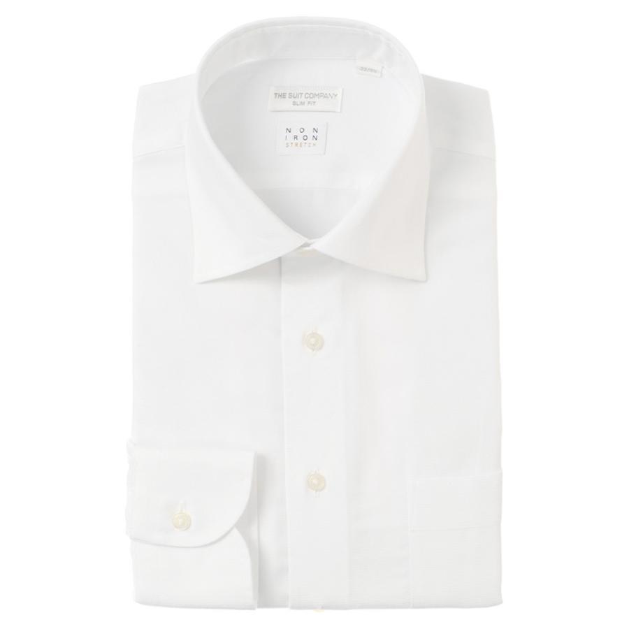 ドレスシャツ/長袖/メンズ/NON IRON STRETCH/ワイドカラードレスシャツ 織柄 〔EC・SLIM FIT〕 ホワイト