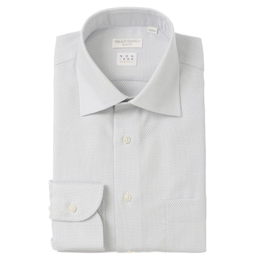 ドレスシャツ/長袖/メンズ/NON IRON STRETCH/ワイドカラードレスシャツ 織柄 〔EC・SLIM FIT〕 ホワイト×グレー