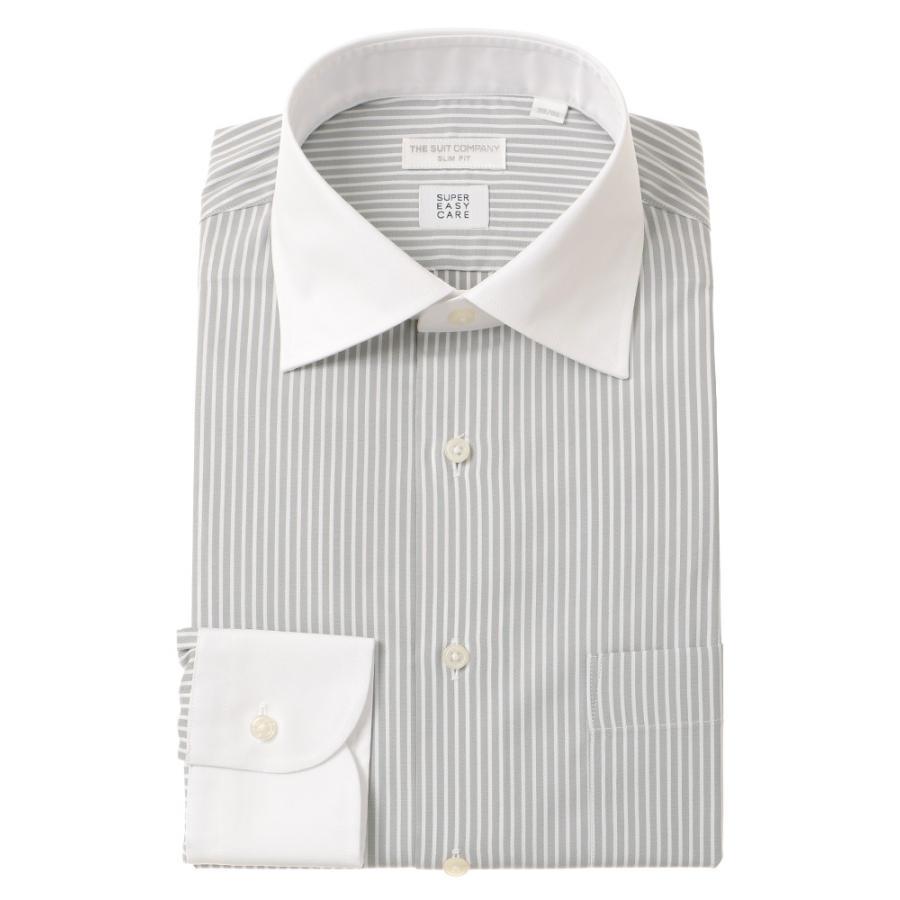 ドレスシャツ/長袖/メンズ/SUPER EASY CARE/クレリック&ワイドカラードレスシャツ 〔EC・SLIM FIT〕 グレー×ホワイト