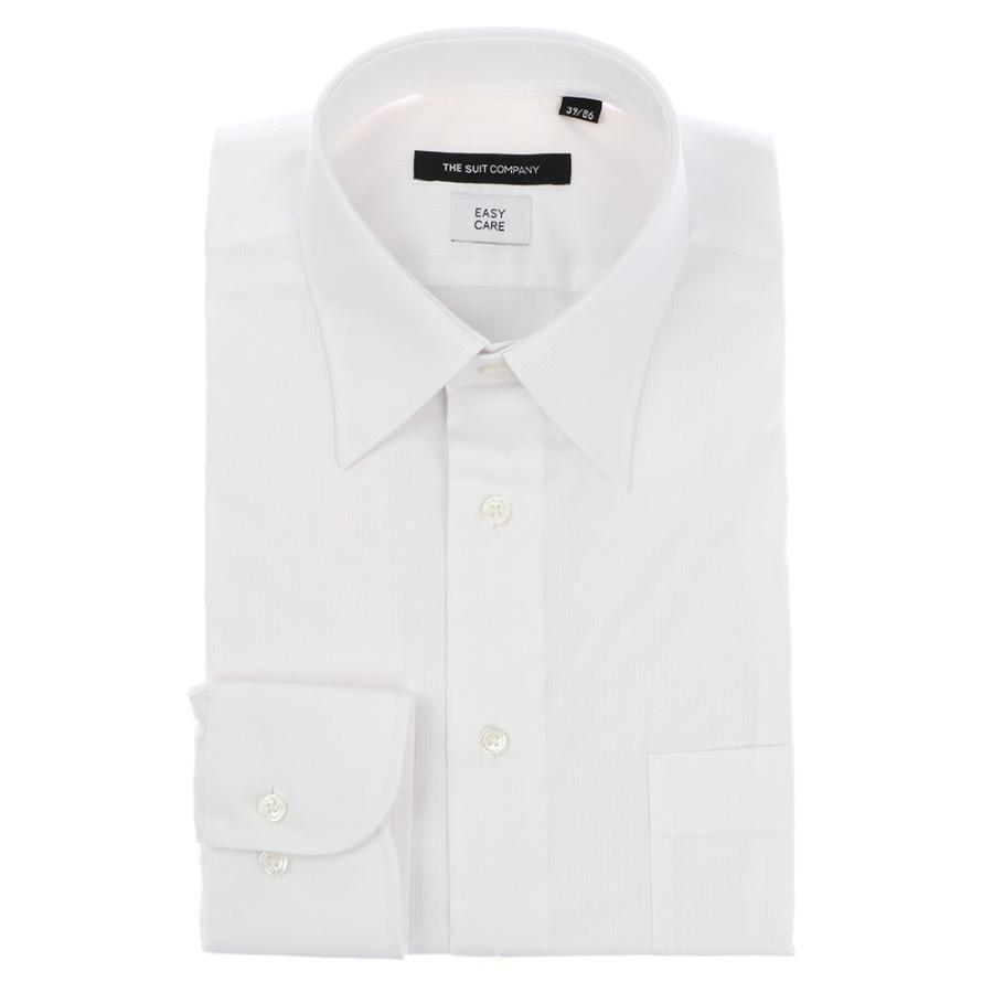 ドレスシャツ/長袖/メンズ/レギュラーカラードレスシャツ シャドーストライプ 〔EC・BASIC〕 ホワイト
