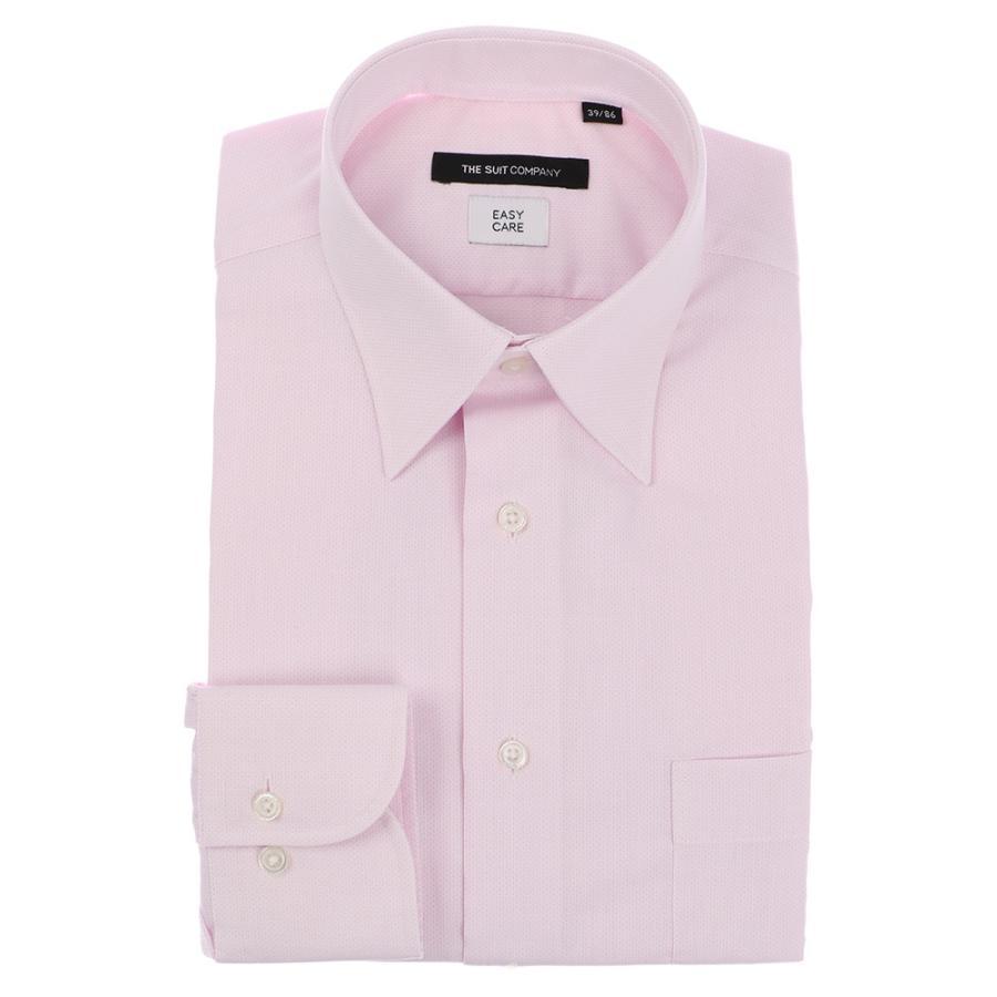 ドレスシャツ/長袖/メンズ/レギュラーカラードレスシャツ ピンドット 〔EC・BASIC〕 ピンク