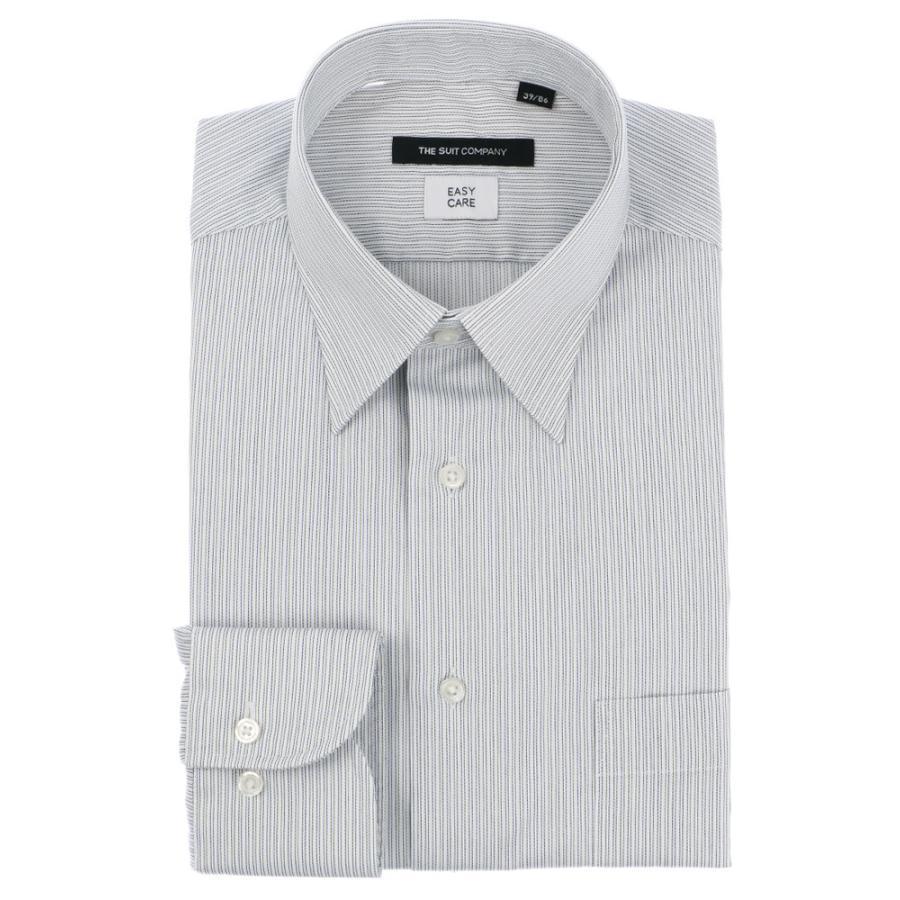 ドレスシャツ/長袖/メンズ/レギュラーカラードレスシャツ ストライプ 〔EC・BASIC〕 ホワイト×ネイビー