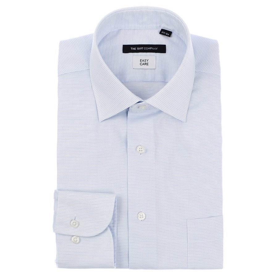 ドレスシャツ/長袖/メンズ/ワイドカラードレスシャツ 織柄 〔EC・BASIC〕 ブルー×ホワイト