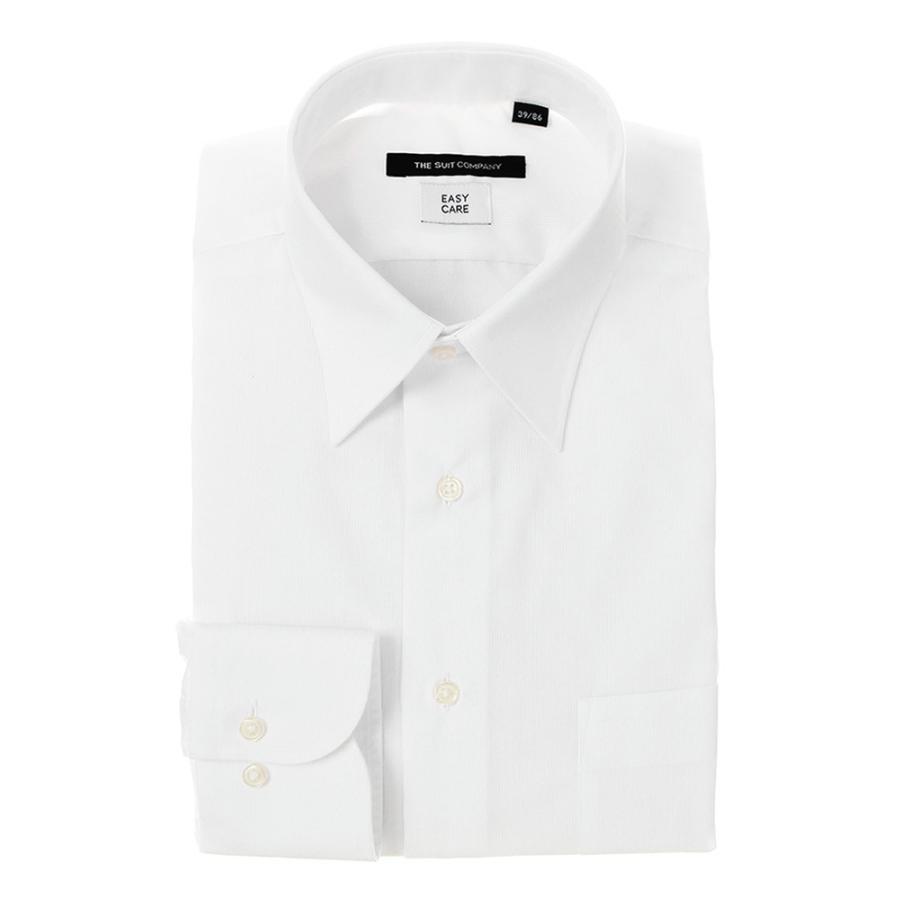 ドレスシャツ/長袖/メンズ/レギュラーカラードレスシャツ 織柄 〔EC・BASIC〕 ホワイト