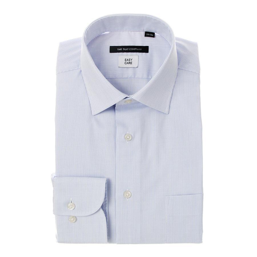ドレスシャツ/長袖/メンズ/ワイドカラードレスシャツ ストライプ 〔EC・BASIC〕 ブルー×ホワイト